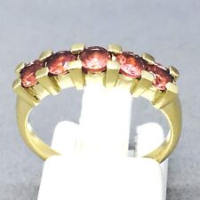"STUNNING 9CT YELLOW GOLD *PINK TOPAZ* HALF ETERNITY DRESS RING SIZE ""N""  1441"