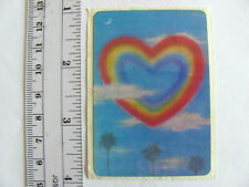 Large Vintage Acard Stickermania Rainbow Hearts and Palm Trees Glossy Sticker
