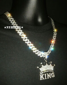 XL King Pendant with Diamond Prong Miami Cuban Link Necklace Iced HipHop Jewelry
