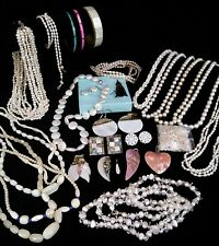 Vintage Genuine Pearl Lot, Cultured Freshwater Necklaces Earrings Sterling 28 ps