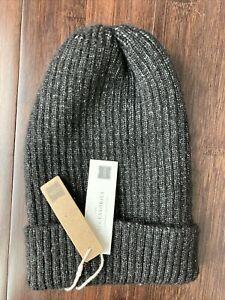 Black Grey Wool Acrylic Blend Beanie Ski Hat Look By M NWT