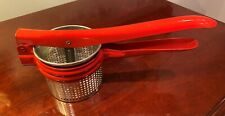 Vintage Red Handle Potato Ricer/Strainer Metal Handy Things Ludington MI Kitchen