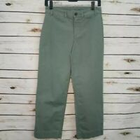 Old Navy Womens Cropped Pants Green Mid Rise Stretch Pockets Flat Front 2