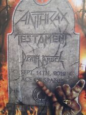Anthrax Testament Death Angel Concert Poster Ace of Spades Music Venue 9/14/2012