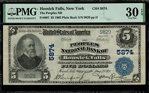 1902 $5 Hoosick Falls, New York - Plain Back - FR.607 Charter 5874 - PMG 30 EPQ