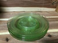 """Anchor Hocking """"Roulette Green"""" set of 5 Luncheon Plates pre-owned"""