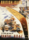 QANTAS BOAC BOOMERANG TRAVEL VINTAGE REPRO NEW A1 CANVAS ART PRINT POSTER FRAMED