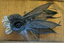 Accessory For Hair, Pin, Brooch, Black Feathers and Flowers, Beads, One Piece