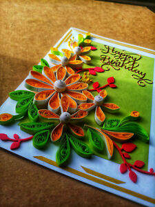 3D Birthday,Thank you Card 100%Handmade Quiling Greeting Card colorful gift card