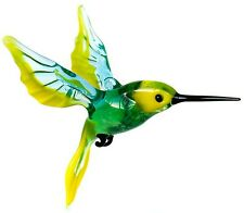 "Yellow Green Hummingbird Figurine Blown Glass ""Murano"" Art Animal Bird Ornament"