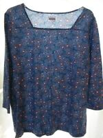 Basic Editions Blue Pink Floral Print Knit Shirt Top Sq Neck 3/4 Sleeve XL NWT