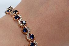 "4ct 18K Yellow Gold Finish Blue Diamond Women's Tennis Bracelet 7"" Size"