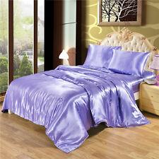 Silk Like Bedding Set Luxury Silky Satin Duvet Cover Flat Sheet Pillowcases Set