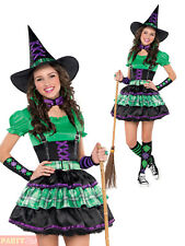 Girls Teen Cool Witch Fancy Dress Costume + Hat Childs  Halloween Party  Outfit