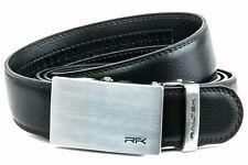 Railtek Belts Men's Leather Ratchet Belt - Brushed Steel Black Leather