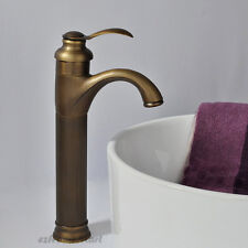 Single Lever Tall Antique Brass Bathroom Basin Faucet Vanity Counter Mixer Tap