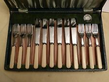 VINTAGE SET OF 12 FAUX BONE CUTLERY FISH KNIVES AND FORKS    #290115052/058