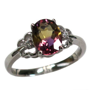 FASCINATING 2 CT OVAL CUT AMETRINE 925 STERLING SILVER RING SIZE 5-10