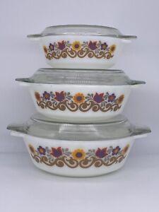 Set Of 3 Vintage JAJ Pyrex Floral Briarwood 1970's Casserole Dishes Flower