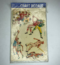E Arts Crafts Vtg Retro 70s Meyercord Decals Sports Baseball Football Basketball