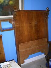 ANTIQUE WOOD WALNUT FRENCH EMPIRE SINGLE OR CHILDS SLAY BED WITH CANDLE HOLDER.