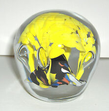 ART GLASS PAPERWEIGHT CLEAR OVER YELLOW CANOPY BUBBLES PYRAMID CORAL BLACK