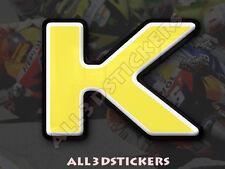 Pegatina Letra K 3D Color Amarillo Tamaño 75mm