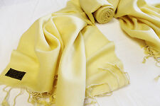 P56B Gorgeous Light Yellow Color  Pashmina/Silk  Shawl/Wrap Handmade In Nepal