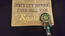 Crystals & CONCHO w/BEADS I.D Badge Holder Turquoise!
