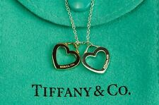 "Tiffany & co. 92.5% Silver & K18 Double Sentimental Heart Pendant 15.75""Necklace"
