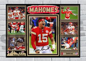 Patrick Mahomes Kansas City Chiefs NFL autograph poster print signed #175