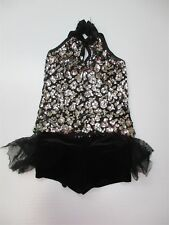 A Wish Come True Youth Girl's Size S Sequins Black/Silver Leotard Set Sa186