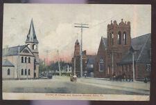 1908 POSTCARD KANE PA/PENNSYLVANIA CHASE & GREEVES STREET CORNER 3 CHURCHES