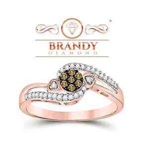 Brandy Diamond® Chocolate Brown 10K Rose Gold Beautiful Flower Design Ring .17CT