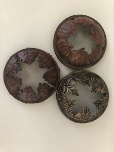 Yankee Candle Jar Candle Toppers Fall Leaves Pumpkins Bronze Brown Illuma-Lid
