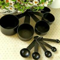 For Baking Coffee Black Plastic Measuring Spoons Cups Set Tablespoon Tools O0P6