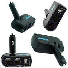 Genuine 5 Amp 2 Way Dual USB Car Charger Adapter Cigarette Lighter Splitter Blak