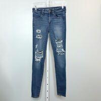 American Eagle Size 2 Jeans Jeggings Super Stretch X Distressed Medium Wash