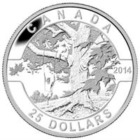 2014 $25 1 oz 99.99% Fine Silver Coin - O Canada Under The Maple Tree