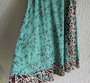 Soft Surroundings Skirt PM MP Long Maxi Blue Brown Logo Wrao 34594 Style