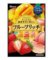 "Kanro, Hard Candy, ""Fruits Rich"" Strawberry, White Peach and Mango, Japan"