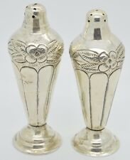 Vintage Mexico Signed Sterling Silver Salt & Pepper Shakers AM Ma Rose Flower