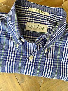 ORVIS Shirt Plaid Cotton Button-Down Short Sleeve Shirt Blue White NWOT New L