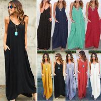 Womens Strappy Summer Long Maxi Dress Casual Beach Party Sundress BOHO Plus Size
