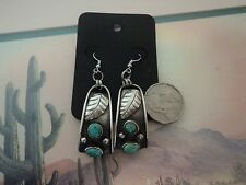 NATIVE SOUTHWEST SOLID STERLING 1.5 inch EARRINGS WITH BLUE TURQUOISE STONES