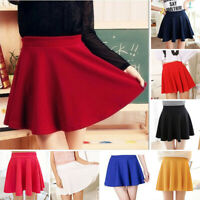 Ladies Elastic High Waist Cotton Bottoms Skater Flared Evening Party Mini Skirts