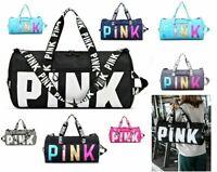 PINK Duffle Bag Yoga Sports Holdall Gym Work Travel Barrel Women Girl WATERPROOF