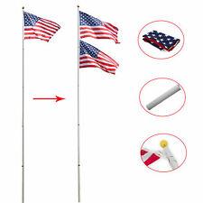 20 ft Aluminum Flag Pole Telescopic Flagpole Kit with 2 Us Flags