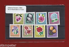 1965 Albania Flowers SG 919/26 Selection of 8 stamps MUH