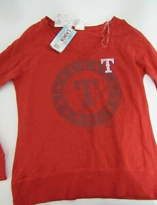 Majestic Texas Rangers Women's Red Long Sleeve V-Neck T-Shirt Size L